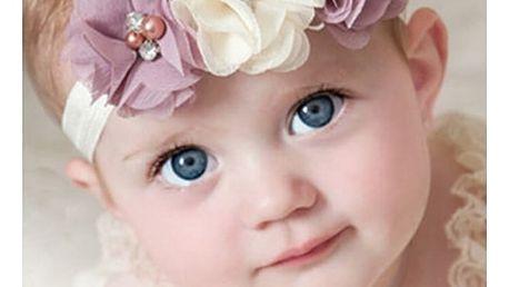 Dětská čelenka s kytičkami a korálky - více variant