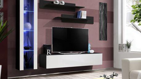 Obývací stěna FLY G2, černá matná/bílý lesk