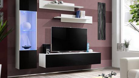 Obývací stěna FLY G3, bílá matná/černý lesk