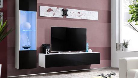 Obývací stěna AIR G3, bílá matná/černý lesk