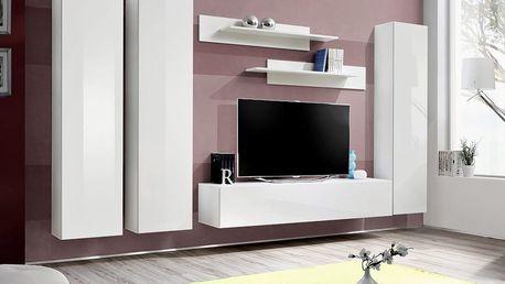 Obývací stěna FLY C1, bílá matná/bílý lesk