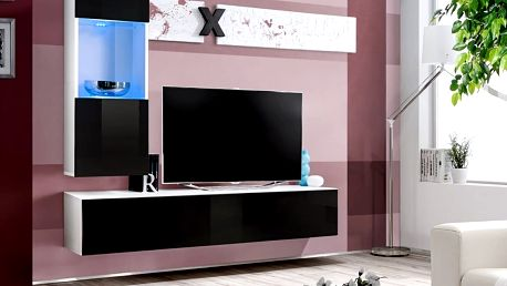 Obývací stěna AIR H3, bílá matná/černý lesk