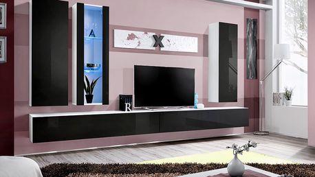 Obývací stěna AIR E4, bílá matná/černý lesk