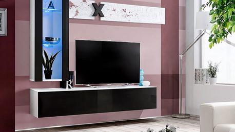 Obývací stěna AIR H2, bílá matná/černý lesk