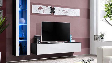Obývací stěna AIR G2, černá matná/bílý lesk