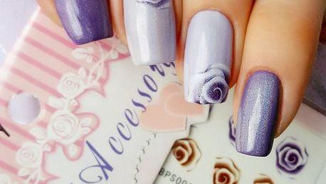 Nálepky na nehty s barevnými růžičkami