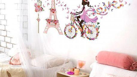 Samolepka na zeď - květinová Paříž