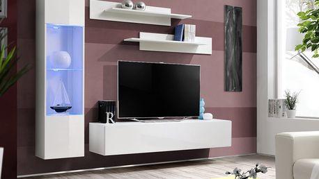 Obývací stěna FLY G3, bílá matná/bílý lesk
