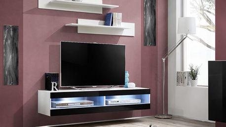 RTV stolek FLY 34, bílá matná/černý lesk