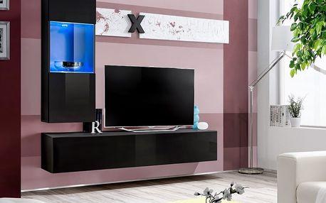 Obývací stěna AIR H3, černá matná/černý lesk
