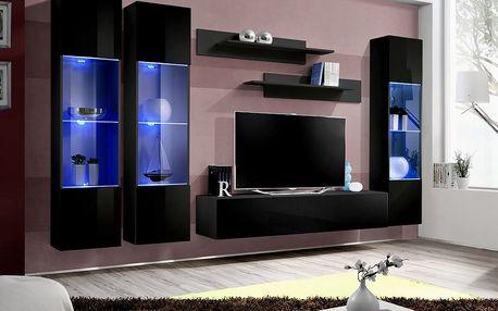 Obývací stěna FLY C3, černá matná/černý lesk