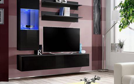 Obývací stěna FLY H3, černá matná/černý lesk