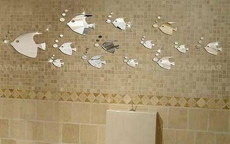 Zrcadlová dekorace do koupelny - Hejno rybiček - dodání do 2 dnů