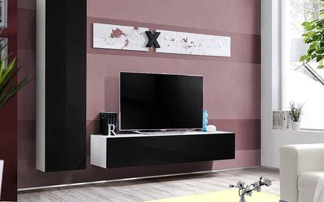 Obývací stěna AIR G1, bílá matná/černý lesk