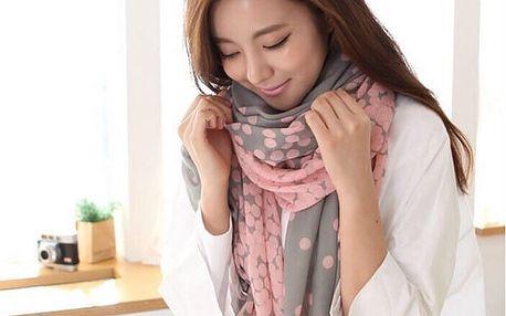 Krásný šátek s puntíky - růžová - dodání do 2 dnů