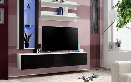 Obývací stěna FLY H2, bílá matná/černý lesk