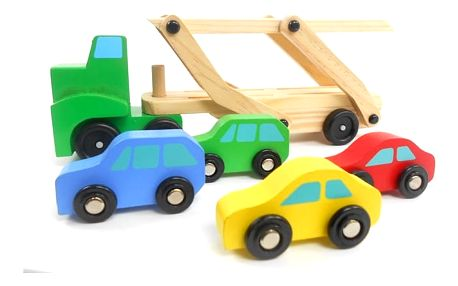 Dřevěný kamion se 4 autíčky pro děti