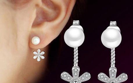 Náušnice s perlou a kytičkou - dodání do 2 dnů