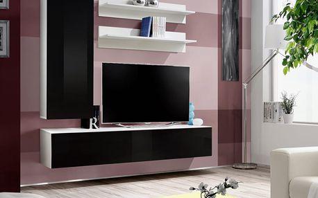 Obývací stěna FLY H1, bílá matná/černý lesk