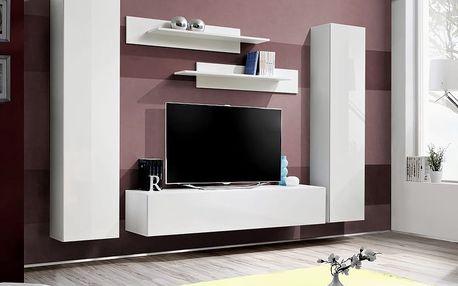 Obývací stěna FLY A1, bílá matná/bílý lesk