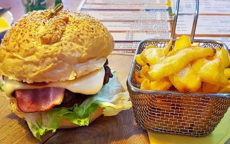 Burger s hranolky – 5 druhů s kuřecím i hovězím