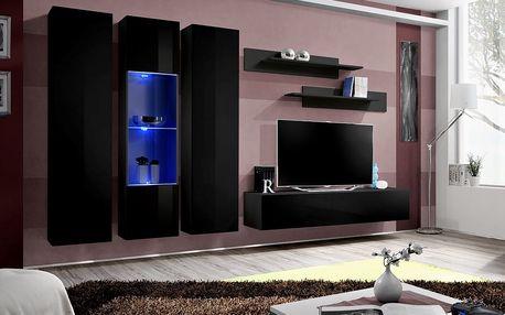 Obývací stěna FLY C5, černá matná/černý lesk