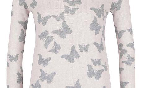 Šedorůžový dámský vzorovaný svetr M&Co