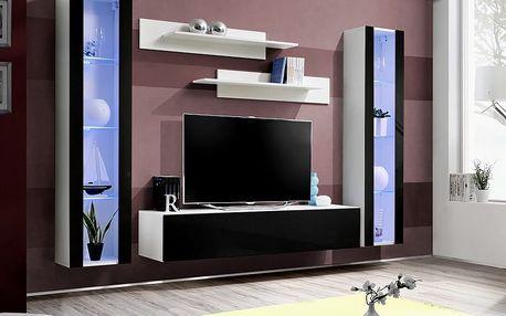 Obývací stěna FLY A2, bílá matná/černý lesk