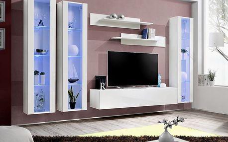 Obývací stěna FLY C2, bílá matná/bílý lesk