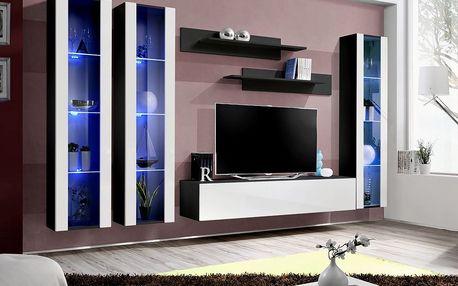 Obývací stěna FLY C2, černá matná/bílý lesk