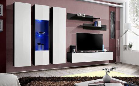 Obývací stěna FLY C5, černá matná/bílý lesk