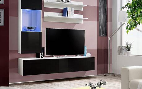 Obývací stěna FLY H3, bílá matná/černý lesk