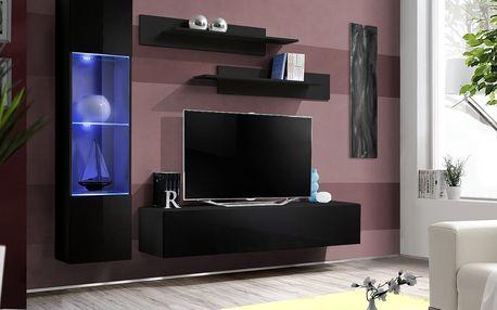 Obývací stěna FLY G3, černá matná/černý lesk