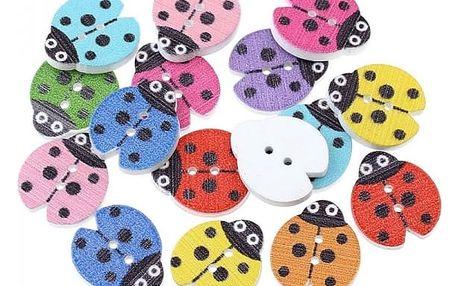 Knoflíky v podobě barevných berušek - 15 kusů