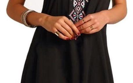 Černé letní šatičky s geometrickými tvary - velikost 5 - dodání do 2 dnů