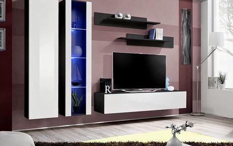 Obývací stěna FLY A4, černá matná/bílý lesk