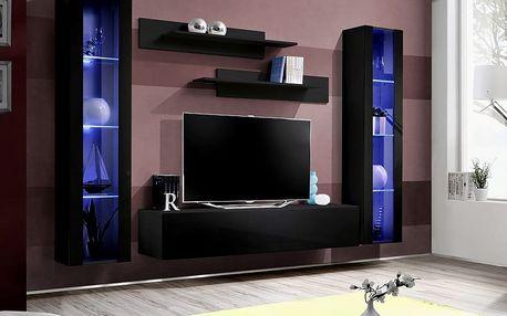 Obývací stěna FLY A2, černá matná/černý lesk