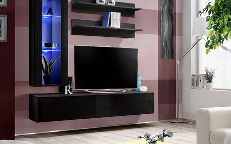 Obývací stěna FLY H2, černá matná/černý lesk