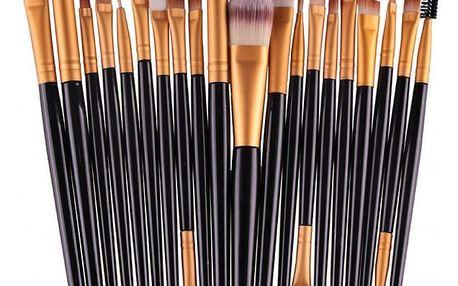 Sada kosmetických štětců v černé barvě - 20 ks - dodání do 2 dnů