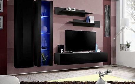 Obývací stěna FLY A4, černá matná/černý lesk