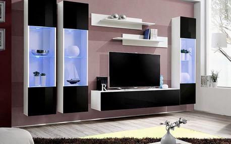 Obývací stěna FLY C3, bílá matná/černý lesk