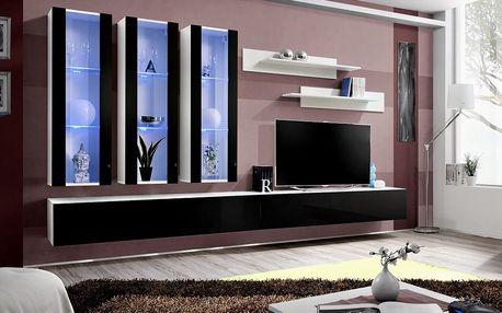 Obývací stěna FLY E3, bílá matná/černý lesk