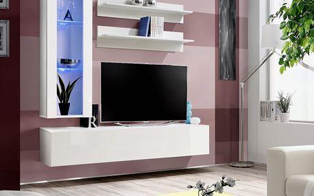 Obývací stěna FLY H2, bílá matná/bílý lesk