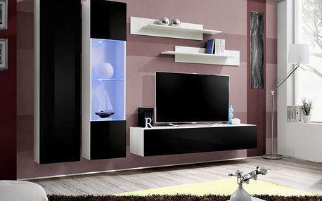 Obývací stěna FLY A5, bílá matná/černý lesk
