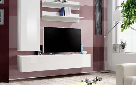 Obývací stěna FLY H1, bílá matná/bílý lesk