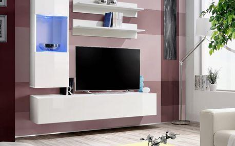 Obývací stěna FLY H3, bílá matná/bílý lesk