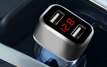 Duální autonabíječka s voltmetrem - dodání do 2 dnů