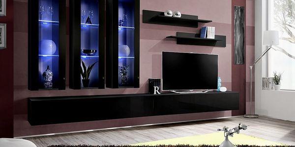 Obývací stěna FLY E3, černá matná/černý lesk
