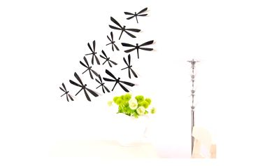 Dekorativní 3D vážky na zeď - 12 kusů