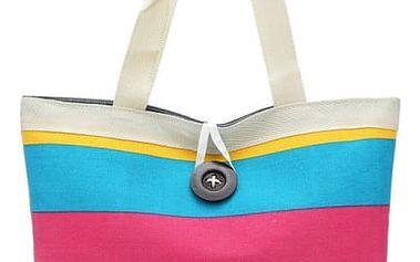 Dámská letní taška s pruhy a velkým knoflíkem - 4 varianty